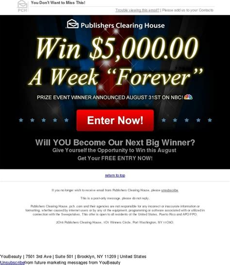 Pch August 31 2016 - youbeauty win 5 ooo oo a week quot forever quot on august 31st milled