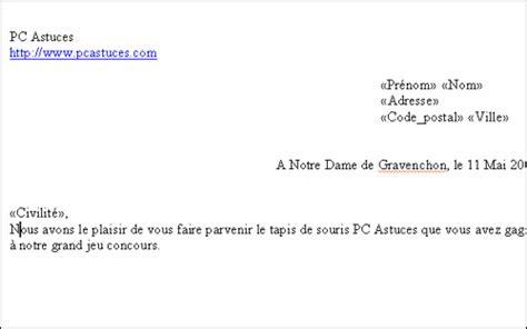 Exemple De Lettre Type Pour Publipostage Pc Astuces R 233 Aliser Un Publipostage Avec Word
