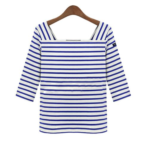 Sale Tshirt Collar Combi Square lilystyle fashion square collar half sleeve striped t