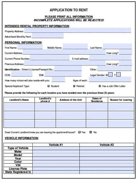 Free Vermont Rental Application Form Pdf Template Adobe Pdf Form Templates