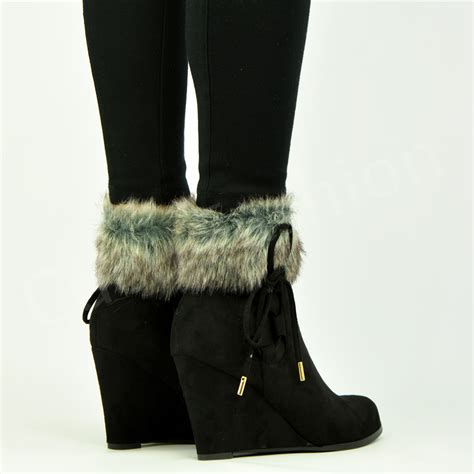new womens mid wedge heel zip lace fur lined ankle