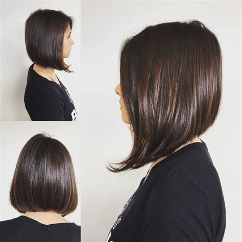 Women's Sleek and Straight A Line Bob on Brunette Highlights