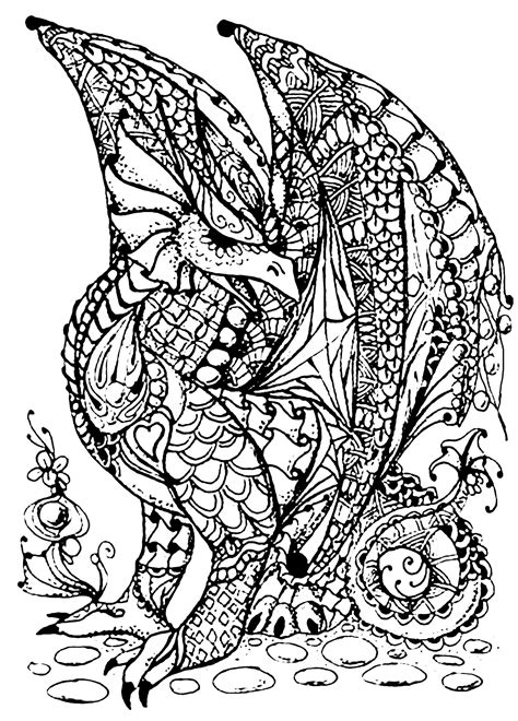 printable zentangle legend dragon full of scales myths legends coloring pages