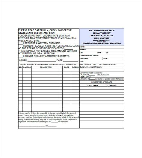 20 Small Business Invoice Templates Pdf Word Excel Sle Templates Auto Shop Invoice Template