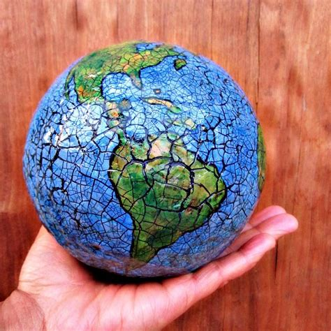 abstract papier mache globe sculpture paper earth