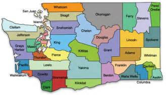 state map with cities and counties washington state map
