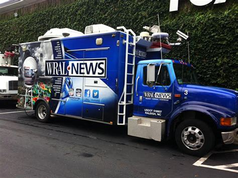 truck tv wral tv satellite trucks get wraps capitol