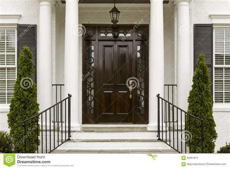 Front Door Columns Front Door With White Columns Stock Photo Image 56661812