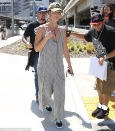 minka keeps things comfortable in oversized jumpsuit
