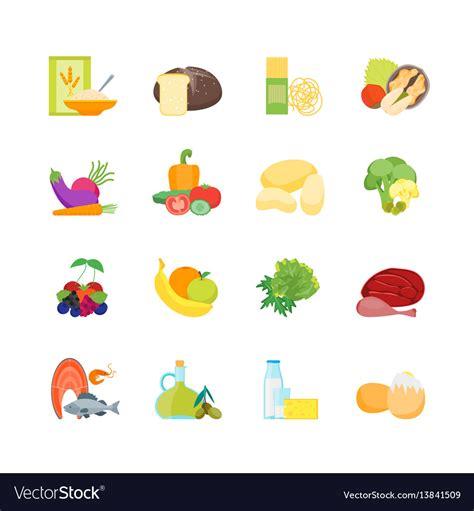healthy color pictures color healthy food set royalty free vector image