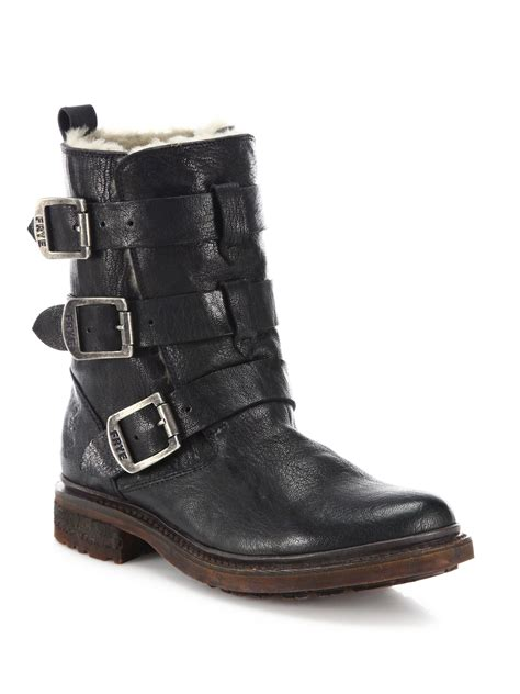 boots moto frye valerie leather shearling strappy moto boots in