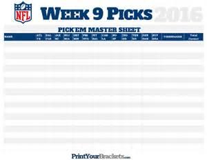 Office Football Pool Week 9 Nfl Week 9 Picks Master Sheet Grid