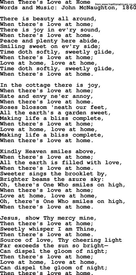Wedding Hymns and songs: When There's Love At Home.txt
