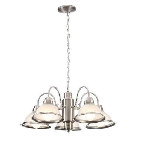 commercial electric 5 light chandelier hton bay halophane 5 light brushed nickel chandelier