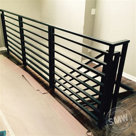 horizontal metal railing modern railing in chicago for open stairs smw