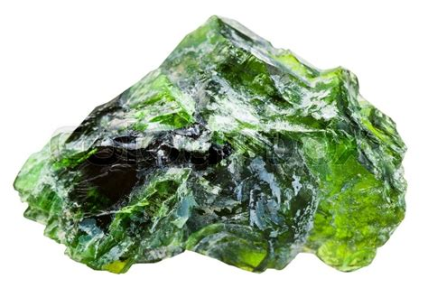 Green Diopside macro shooting of mineral chrome