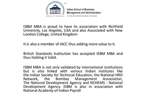 Is Foreign Mba Valid In Usa by Isbm Mba Is Valid