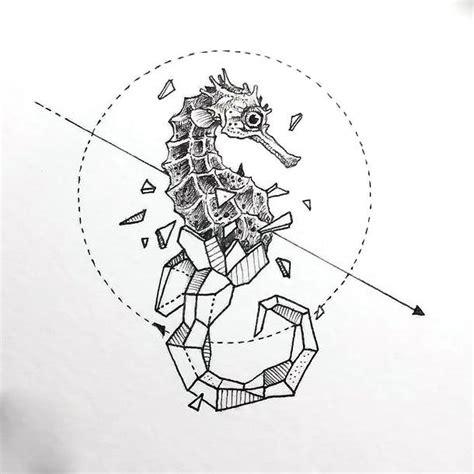 geometric sea horse tattoo design