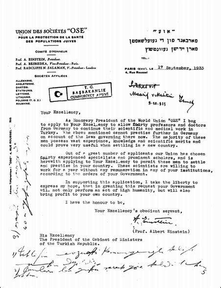 Proof Of Judaism Letter Einstein S Letter To Ataturk S Turkey National Geographic Society Blogs