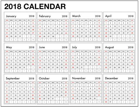 2018 yearly calendar template weekly yearly excel 2018 calendar template