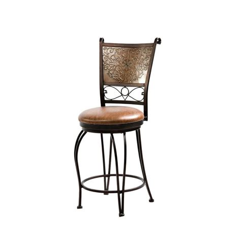 24 Bar Stool With Back Bronze With Muted Copper Sted Back Counter Stool 24 Seat Height By Powell 222 918