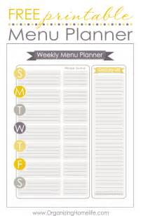 free menu templates printable free menu planning printable organize your kitchen