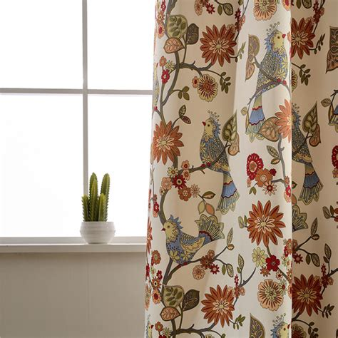 bird drapes american living curtains rustic home decor birds pattern