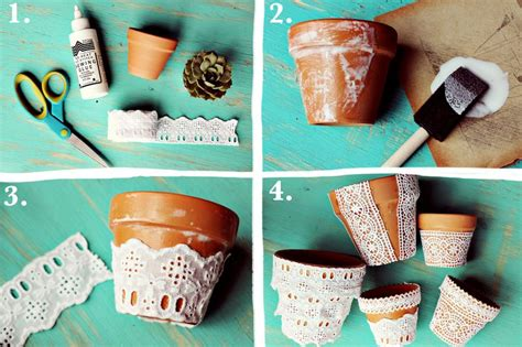 How To Make Home Interior Beautiful Pretty Lace Flower Pots A Beautiful Mess