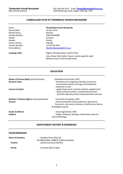 Resume Template Word South Africa Cv Template In South Africa Http Webdesign14