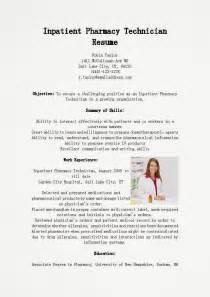resume sles inpatient pharmacy technician resume sle