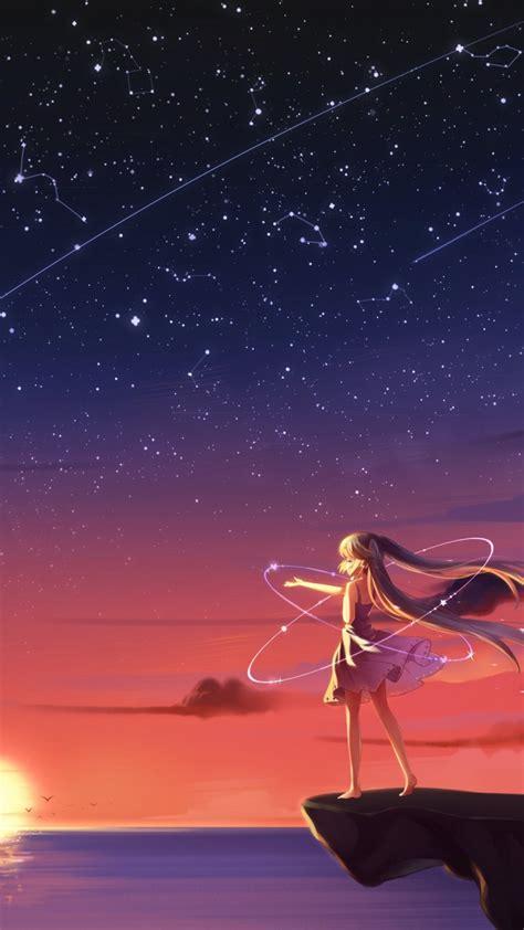 wallpaper anime girl sunset  anime