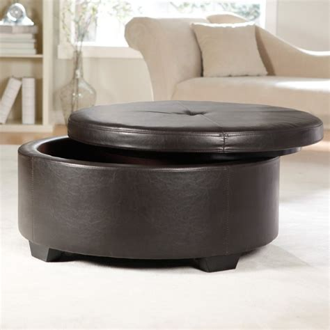 round leather storage ottoman furniture adorable living room furniture decoration with