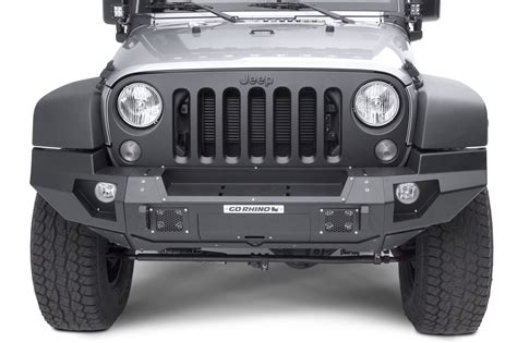 jeep wrangler top view go rhino 230120t front bumper with full end caps for 07 18