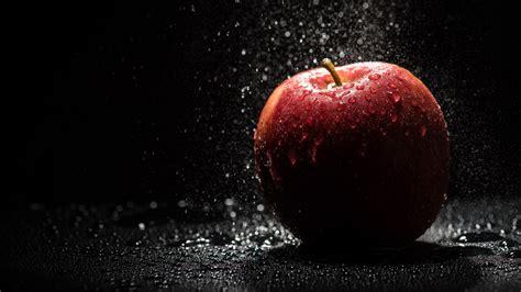 wallpaper apple water red apple with water drops uhd 4k wallpaper pixelz