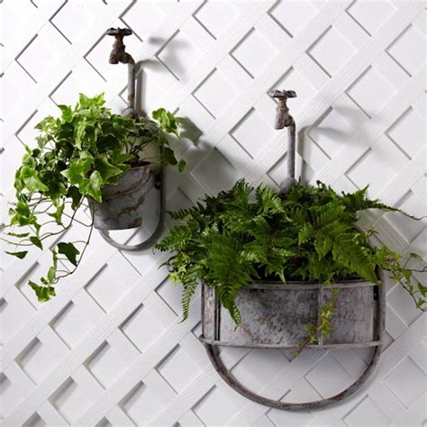 outdoor wall hanging planters vintage garden tap planter add a whimsical touch to your
