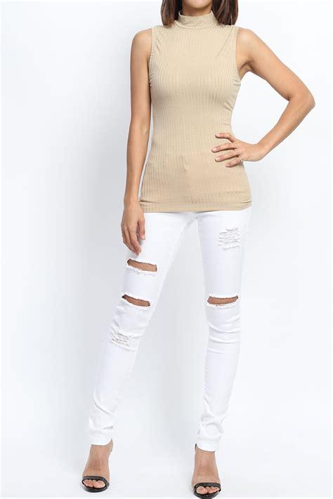 Best Seller Turtleneck Sleeveless Knitted Tank Top Tanpa Lengan themogan s bibbed knit mock neck tank top sleeveless lightweight sweater