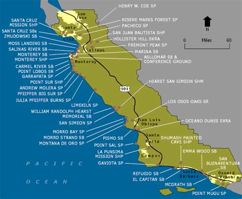 california map of beaches wildernet central coast state parks and beaches