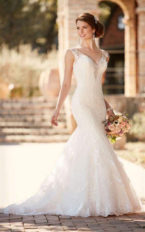 fit flare wedding dress  cap sleeves essense