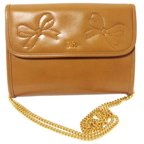 vintage ricci tanned brown leather mini clutch