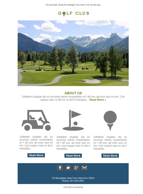 Free Email Templates Download Design Golf Course Club Golf Newsletter Templates