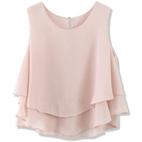 Pastel Blouse Mode Colour chicwish layered chiffon crop top in pastel pink 34