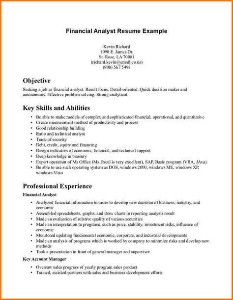 analyst resume template 9 financial analyst resume exles financial statement