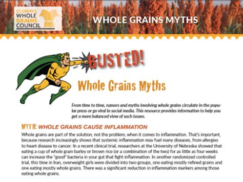 whole grains handout all resources the whole grains council