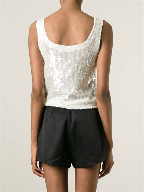 P A R O S H Top p a r o s h sequin embellished tank top in white lyst