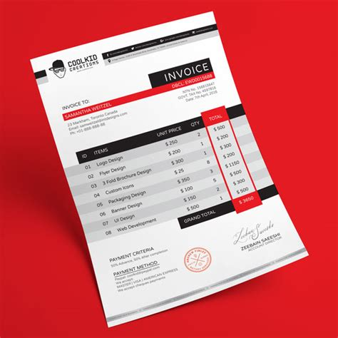 invoice template psd top 10 best free professional invoice template designs in