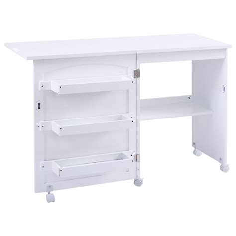 folding craft table with drawers white folding swing craft table shelves storage cabinet