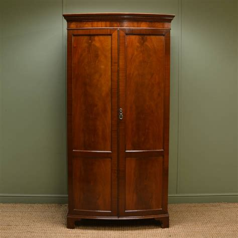 Antique Wardrobe by Beautifully Figured Mahogany Edwardian Bow Fronted Antique