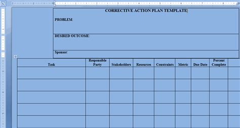 plan of correction template search results for plan templates word calendar