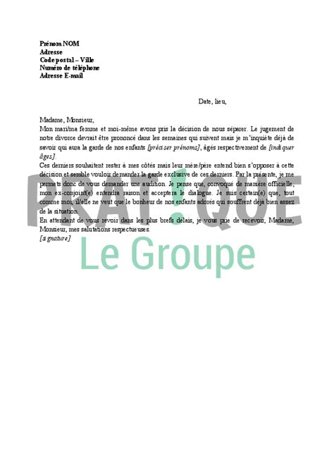 application letter sle exemple de lettre demande de garde