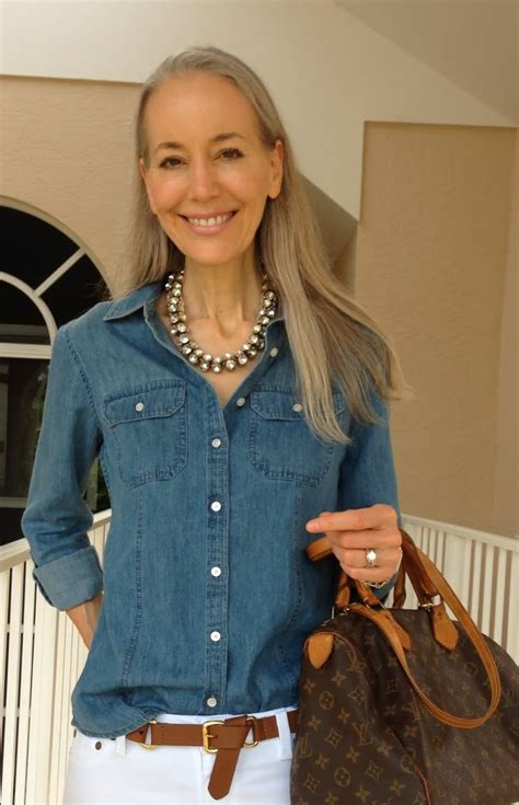 fashions for 80 year old thin women classic fashion over 40 over 50 talbots denim shirt